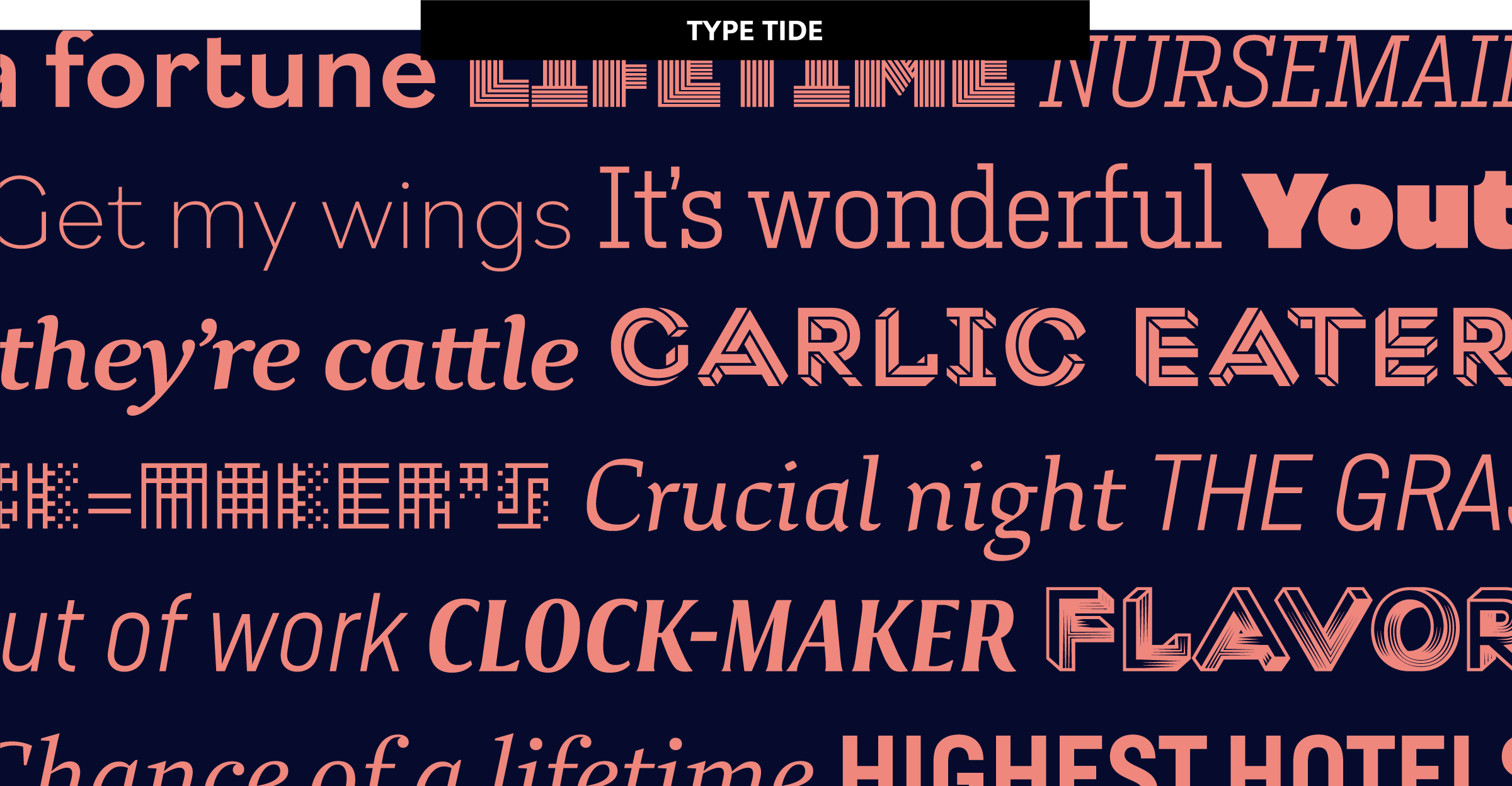 Specimen by Type Network showing various typefaces released at the end of 2018: Macula, Nitti Mostro, Study, Nitti Grotesk, Alterego, et al.