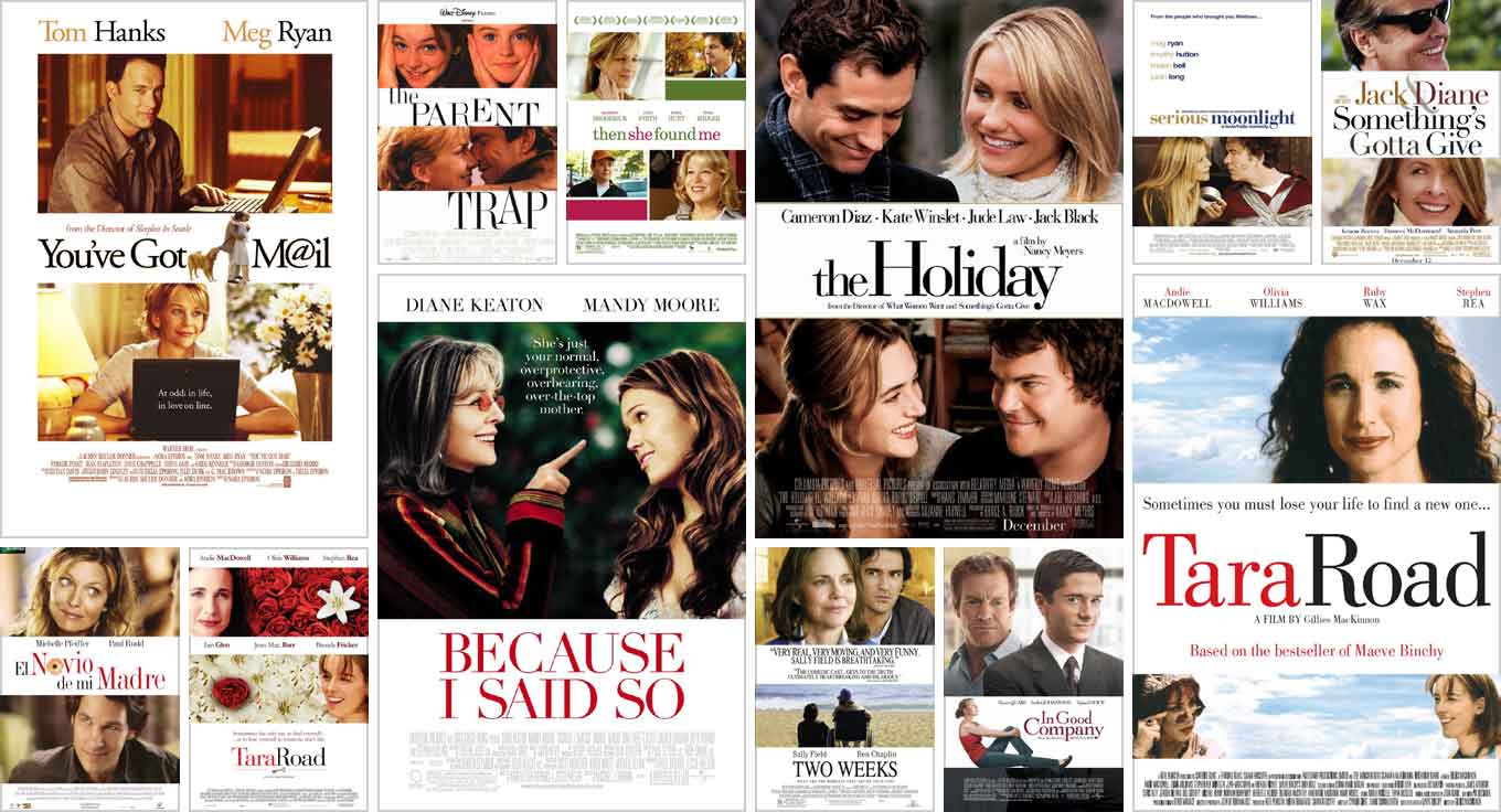Collage of film posters for romantic comedies that have alternating horizontal bands as the main motif.