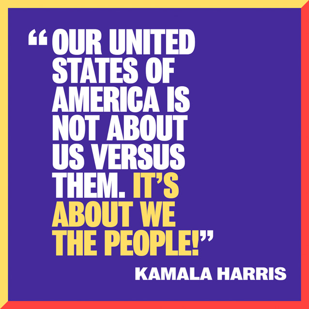 "Social image with the slogan ""Our United States of America is not about Us versus Them. It's about We The People."""
