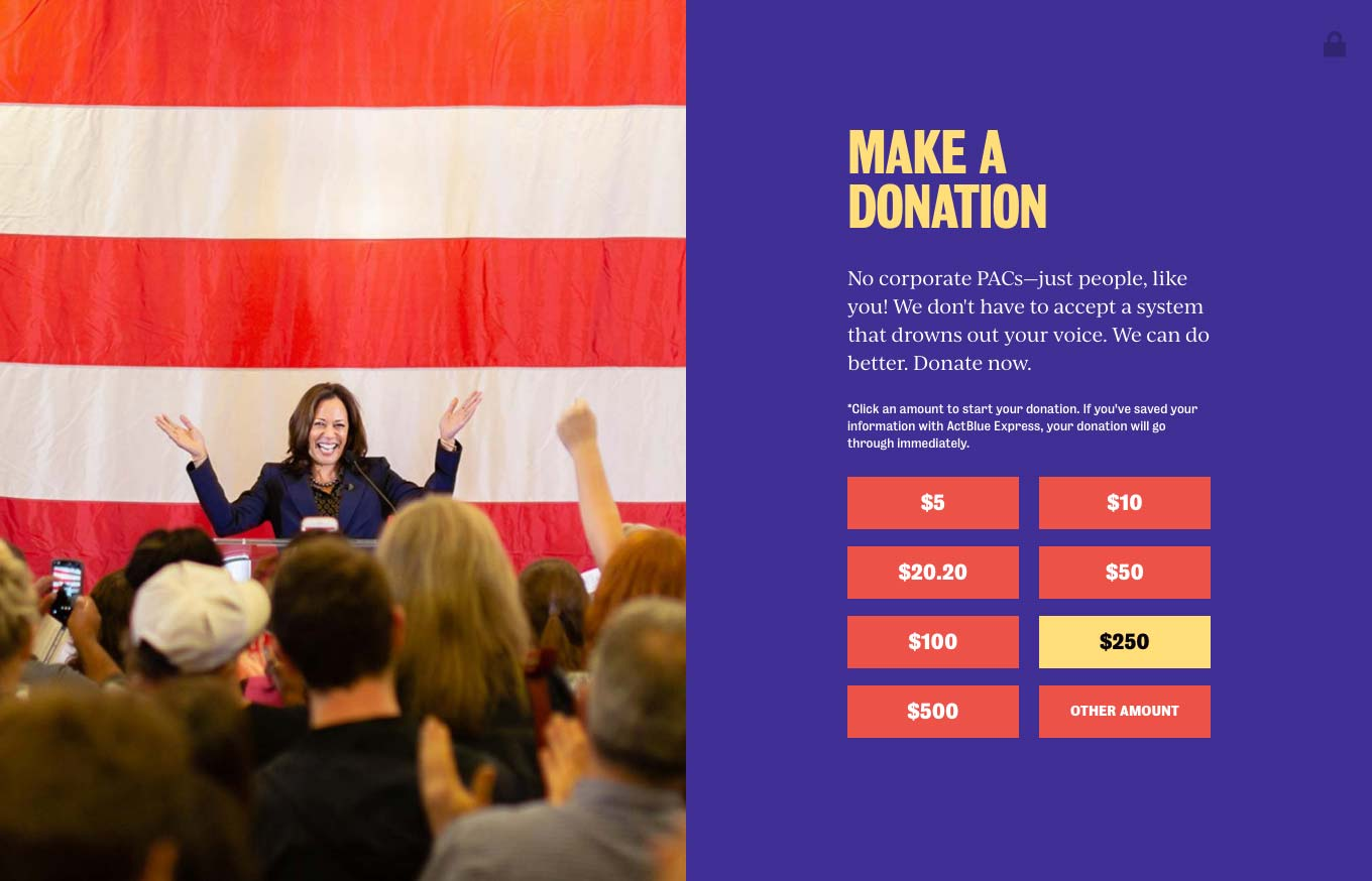 Bottom segment of the Kamala Harris: For the People website