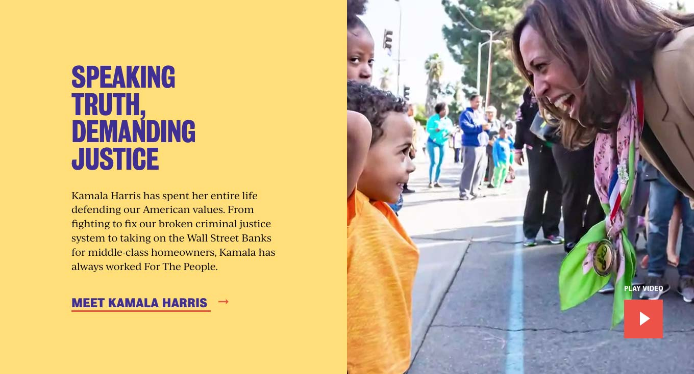 Middle segment of the Kamala Harris: For the People website