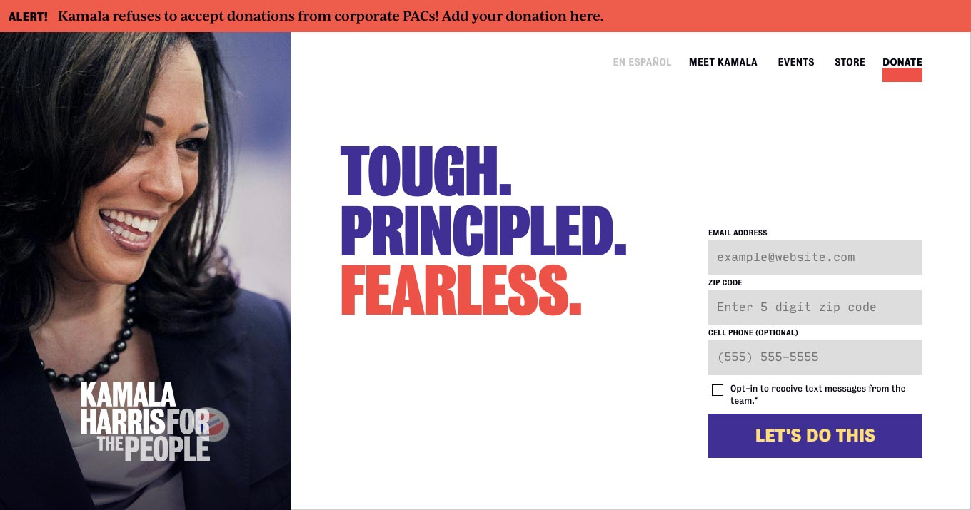 Homepage for the Kamala Harris: For the People website