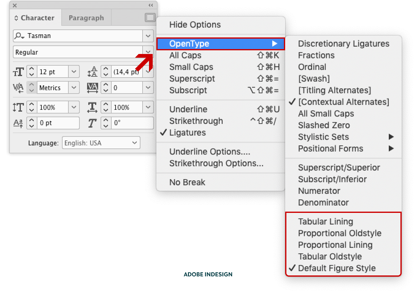 Screenshot showing the location of the different figure styles in Adobe InDesign CC.