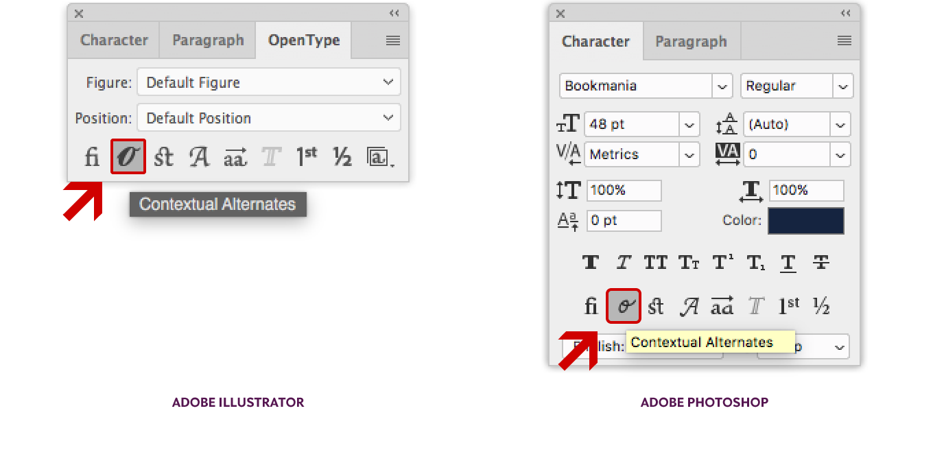 Location of the Contextual Alternates OpenType feature in Adobe Illustrator CC (left) and Photoshop CC (right).