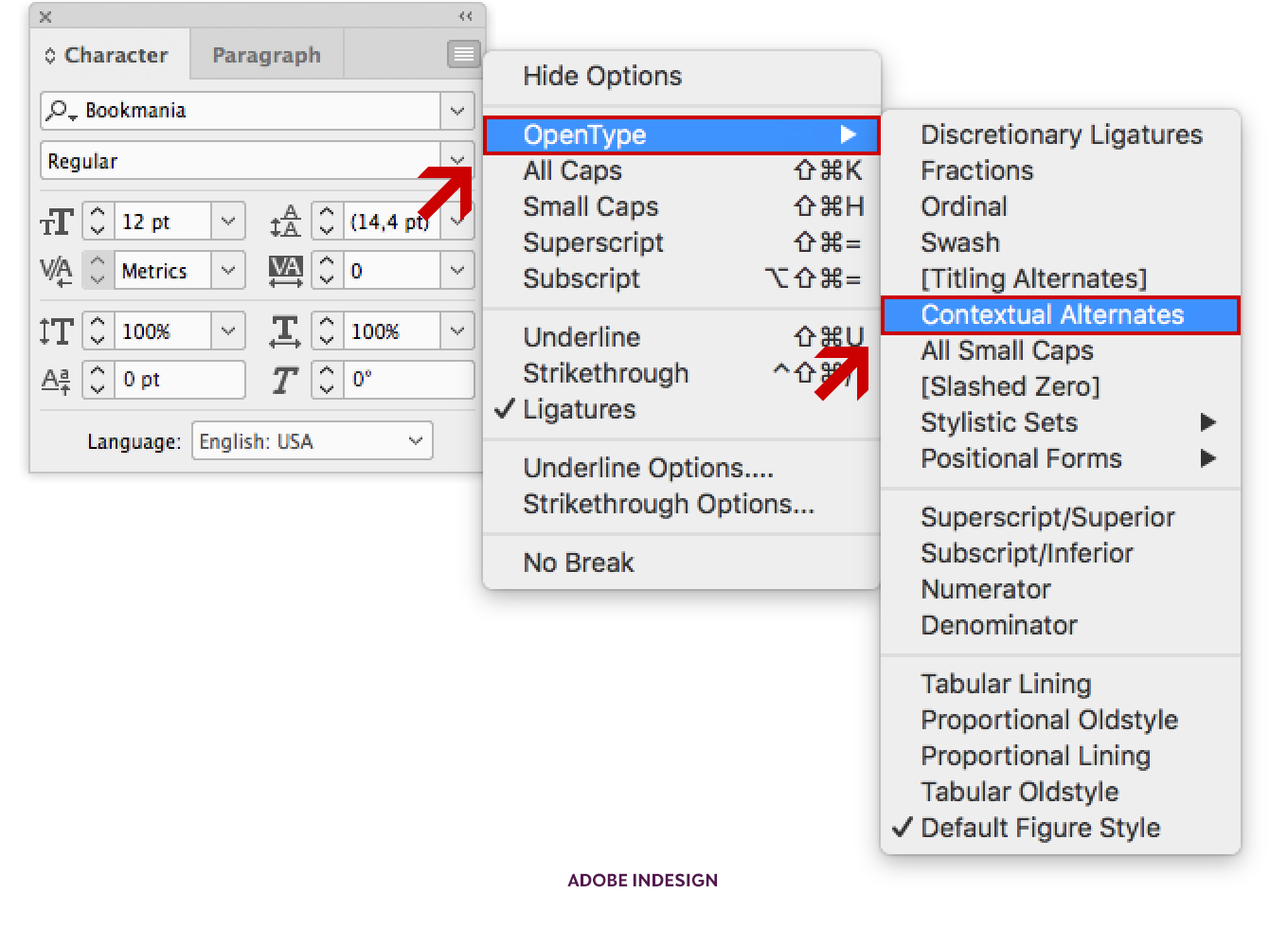 Location of the Contextual Alternates OpenType feature in Adobe InDesign CC.
