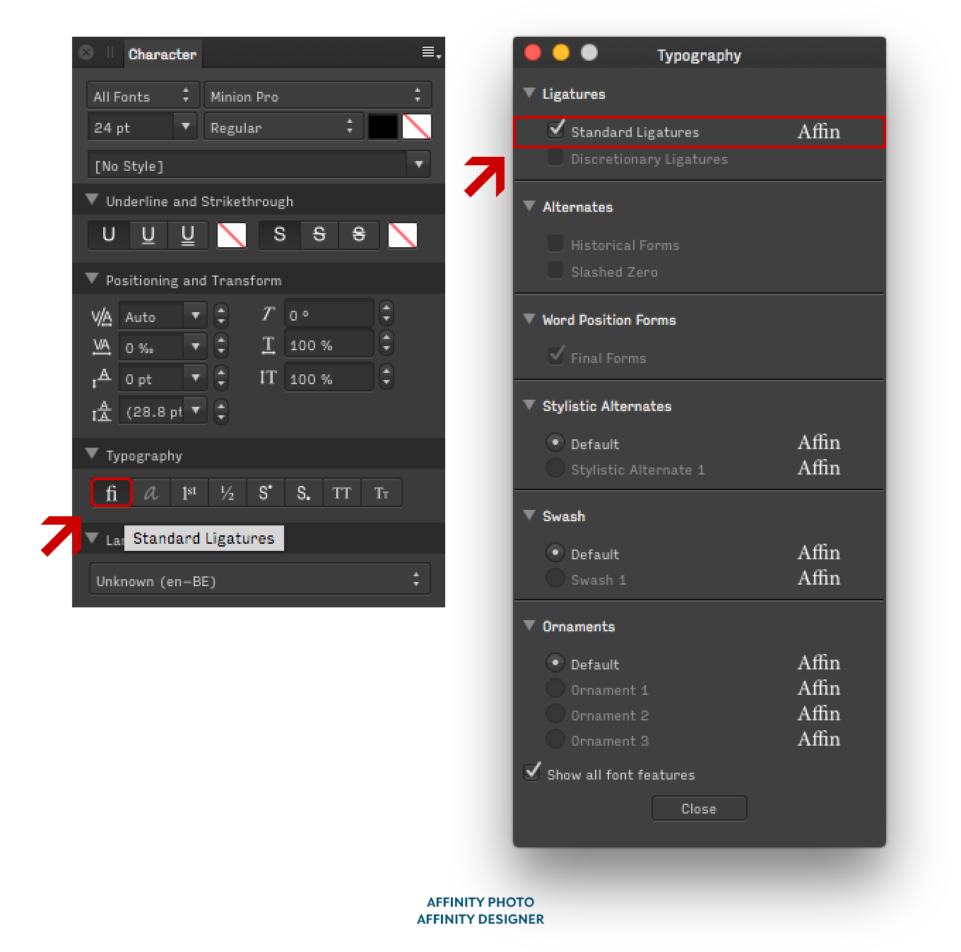 Location of the OpenType feature Standard Ligatures in Affinity Designer and Photo