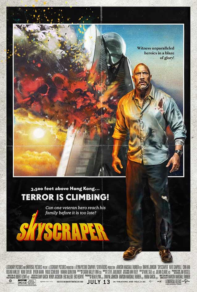Poster for Skyscraper paying homage to The Towering Inferno