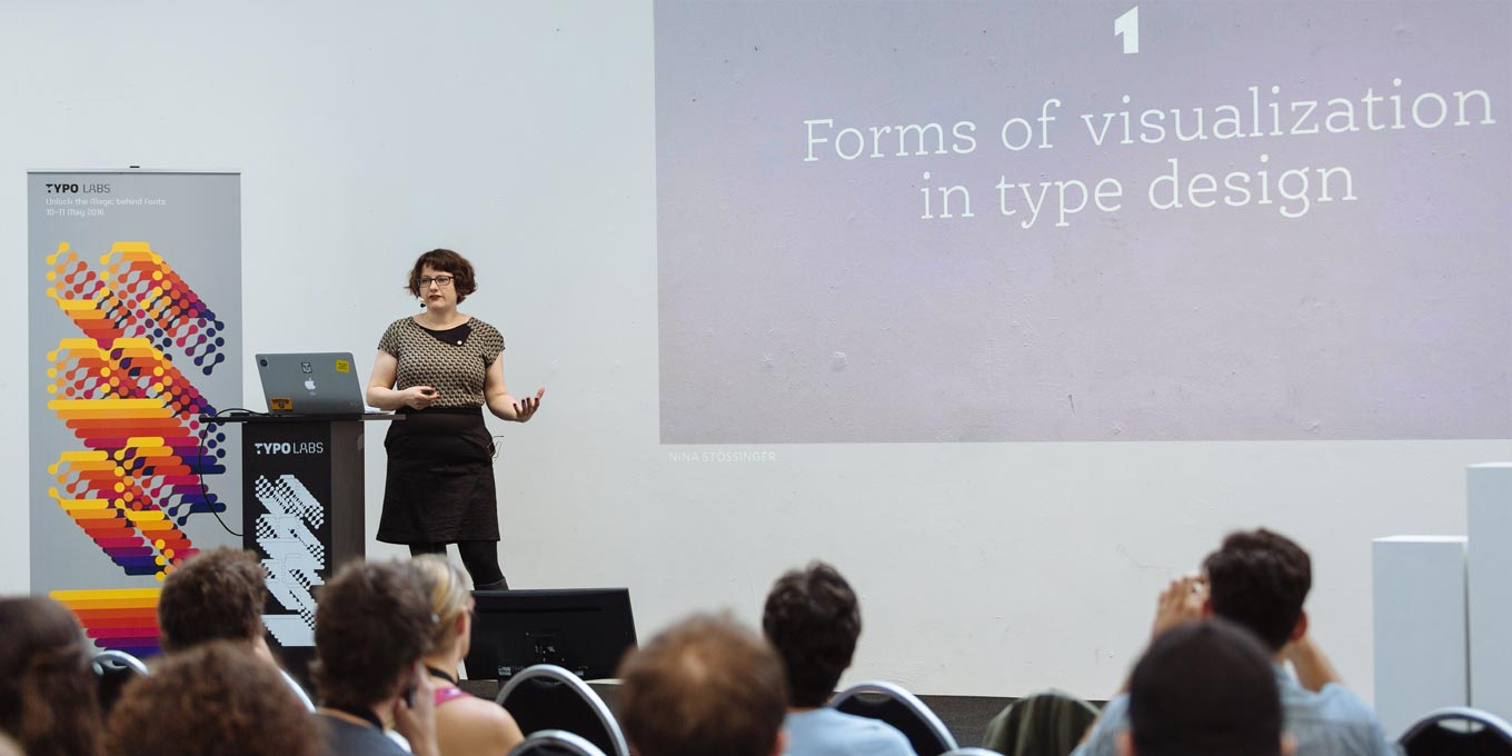 Nina Stössinger delivering her presentation at the first TYPO Labs font technology conference in Berlin in 2016.