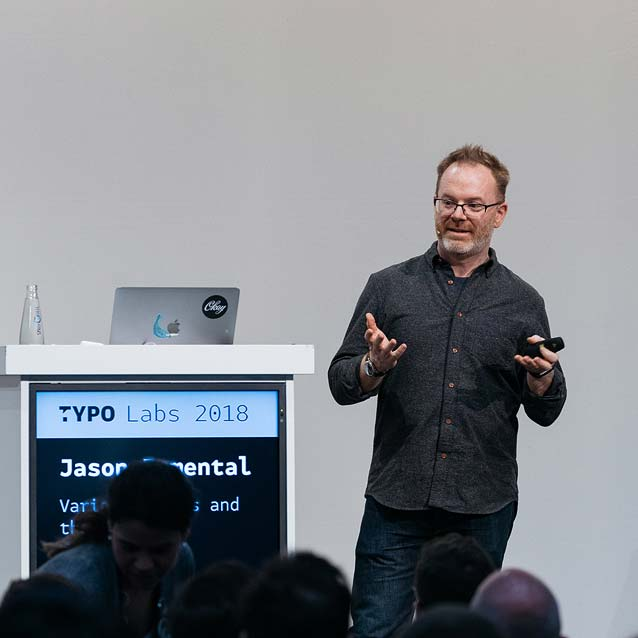 Jason Pamental presenting at TYPO Labs 2018
