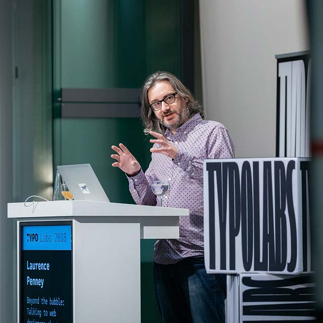 Laurence Penney presenting at TYPO Labs 2018