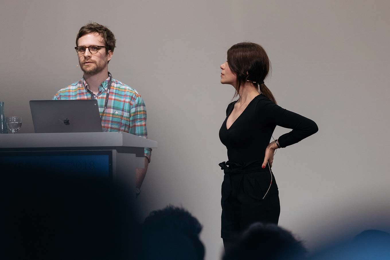 Sahar Afshar and José Miguel Solé Bruning presenting at TYPO Labs 2018.