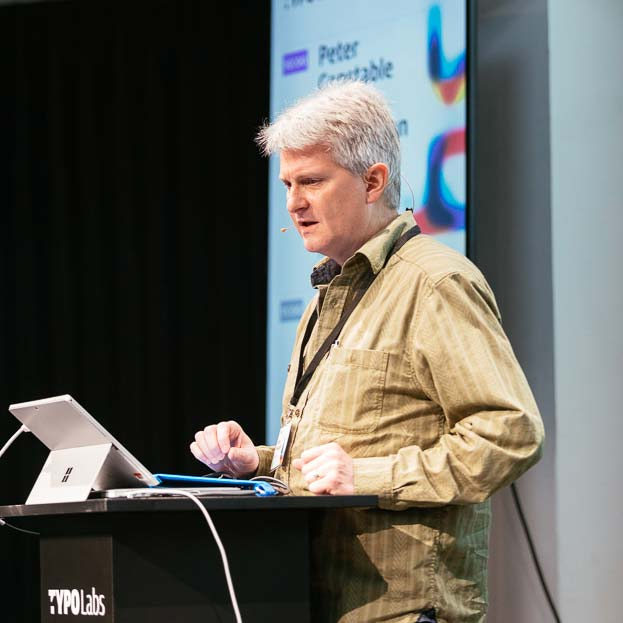 Photograph of Microsoft's Peter Constable detailing the refinements in the OpenType 1.8.1 specification.